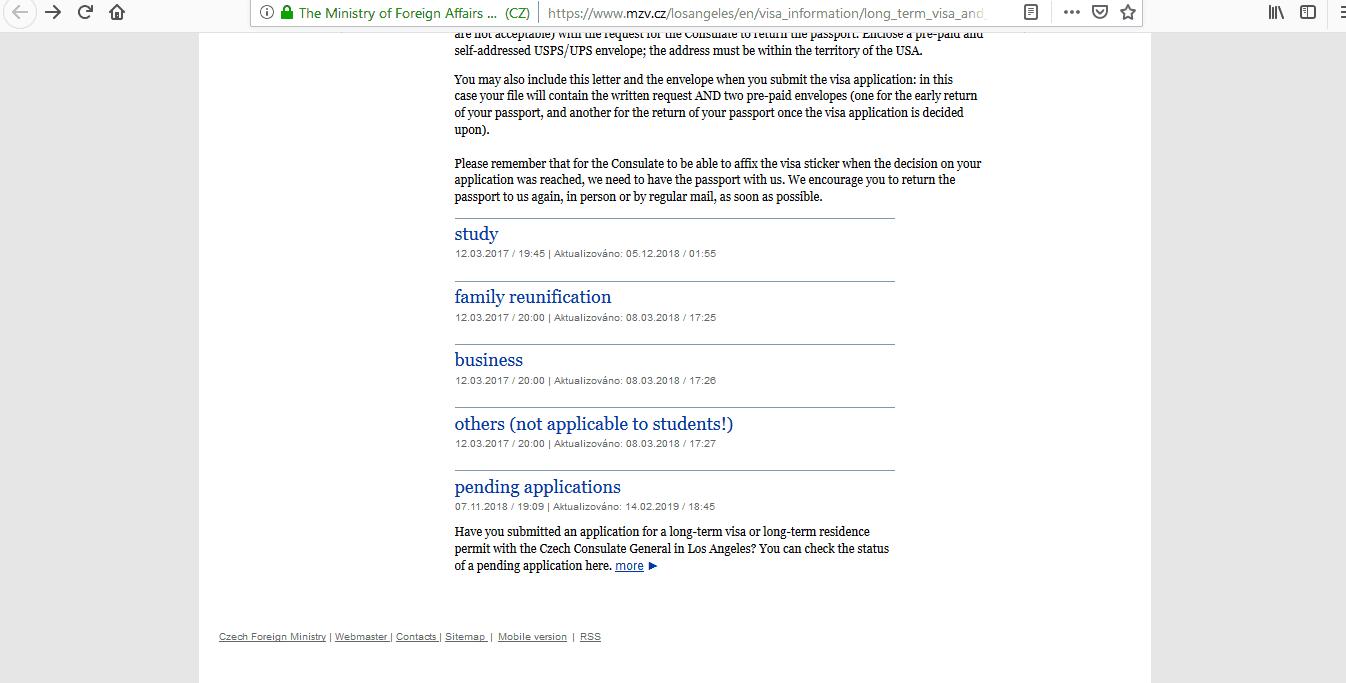 Czech Republic Schengen Visa Los Angeles Consulate Application Status