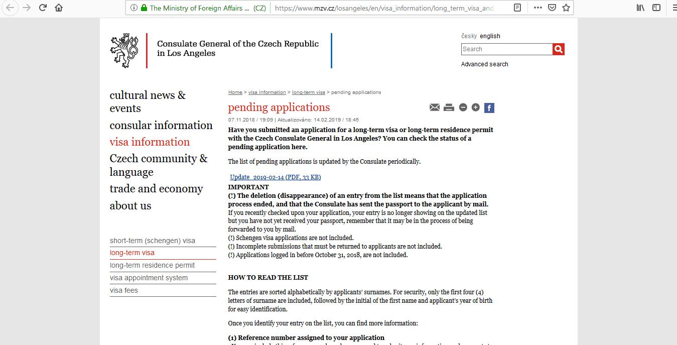 Czech Republic Schengen Visa Los Angeles Consulate Application Status1