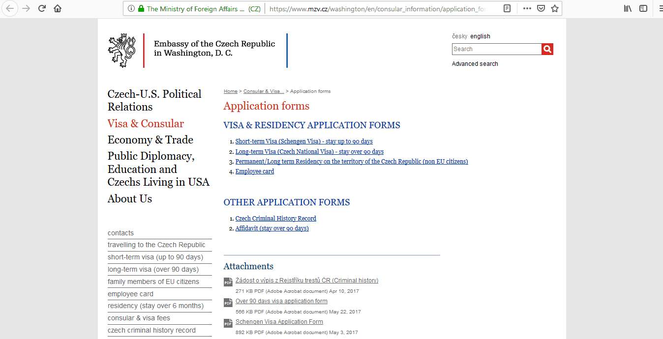 Czech Republic Schengen Visa Washington DC Embassy Application Form2