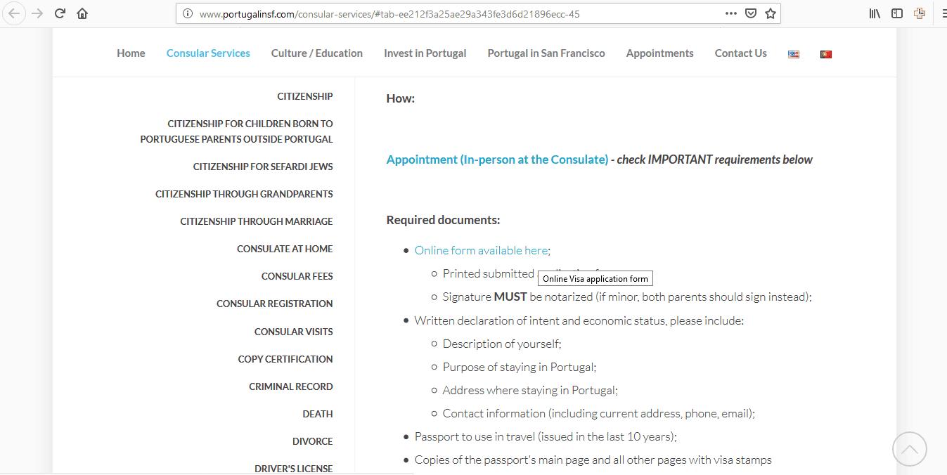 Portugal Schengen Visa San Francisco Consulate Application Form8