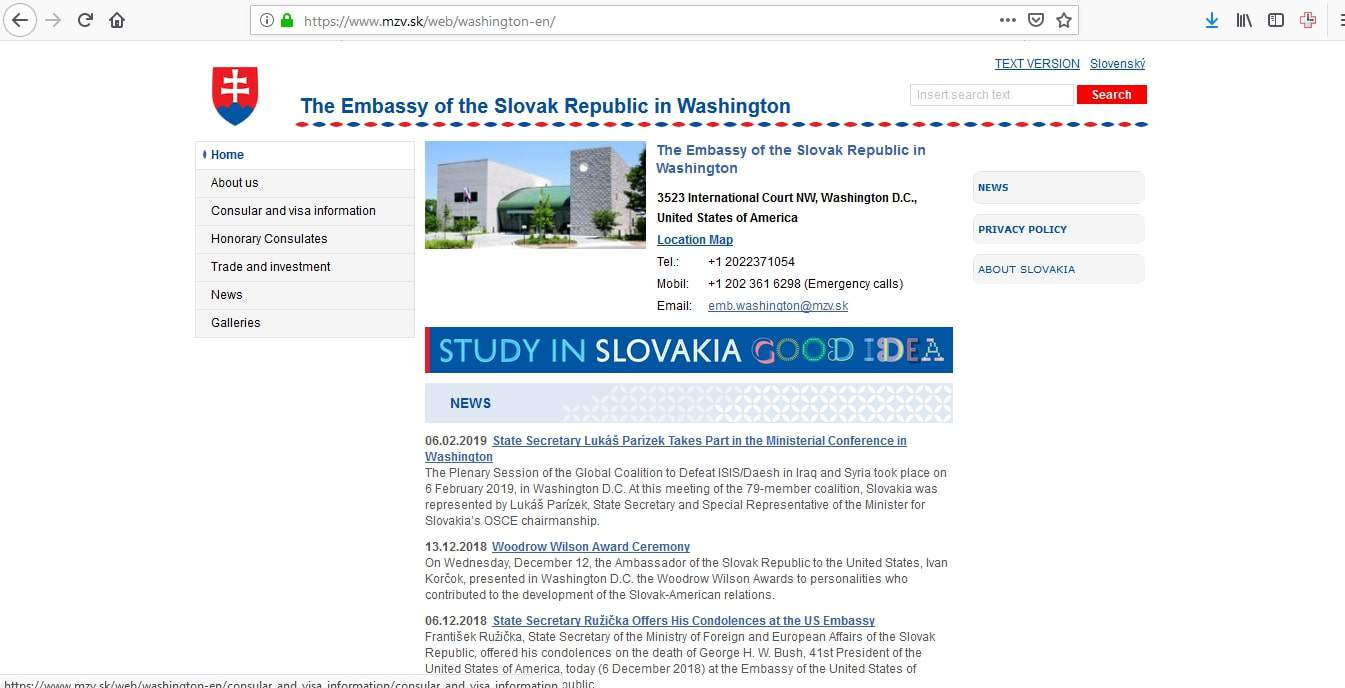 Slovakia Schengen Visa Washington DC Embassy Application Form