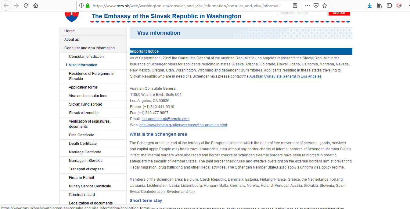 Slovakia Schengen Visa Washington DC Embassy Application Form1