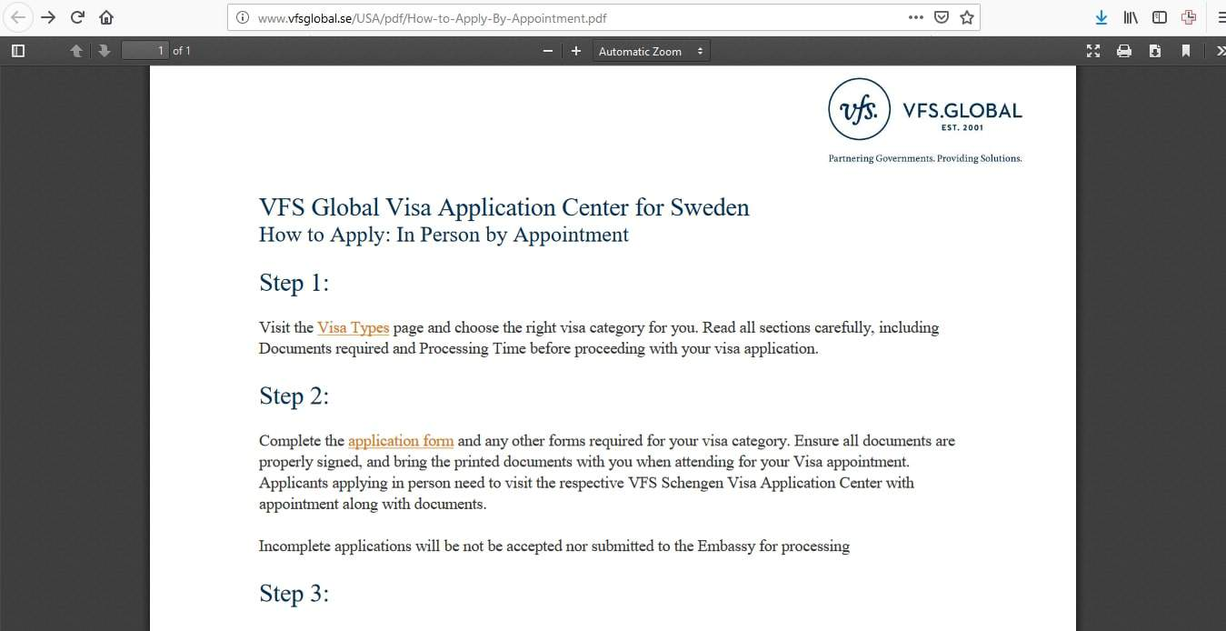 Sweden Schengen Visa New York Consulate Application Form1