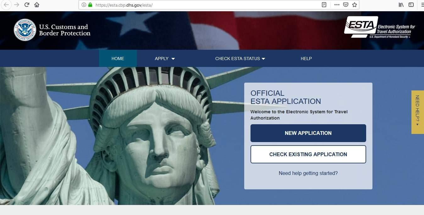 US Visa Application - ESTA