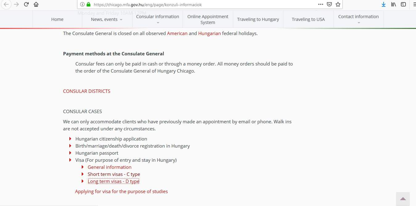 Hungary Schengen Visa Chicago Consulate Application Form1