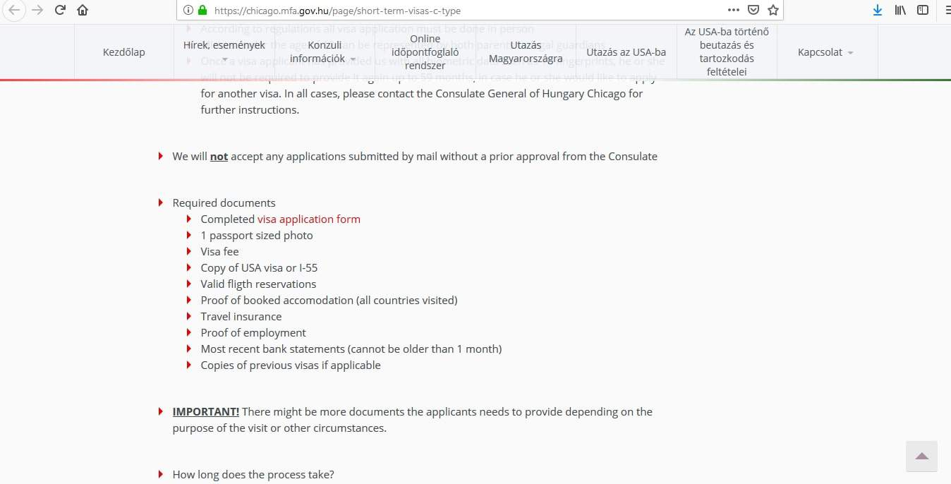 Hungary Schengen Visa Chicago Consulate Application Form2