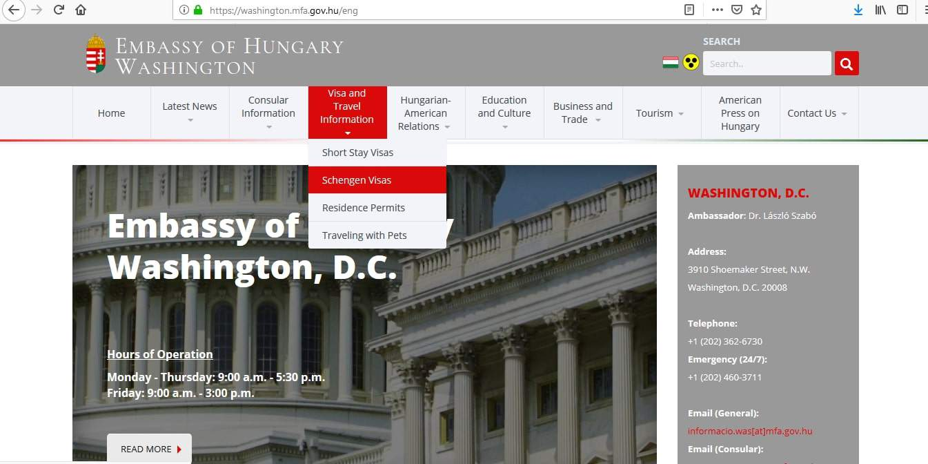 Hungary Schengen Visa Washington DC Embassy Application Form