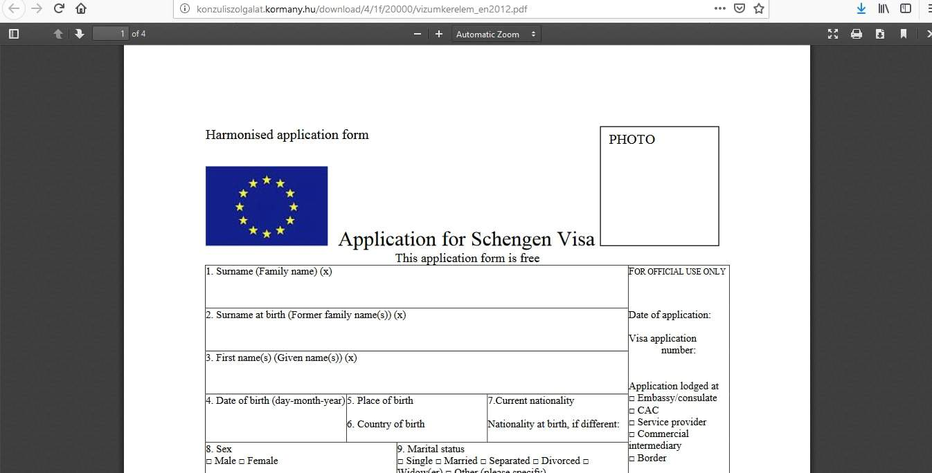 Hungary Schengen Visa Washington DC Embassy Application Form2