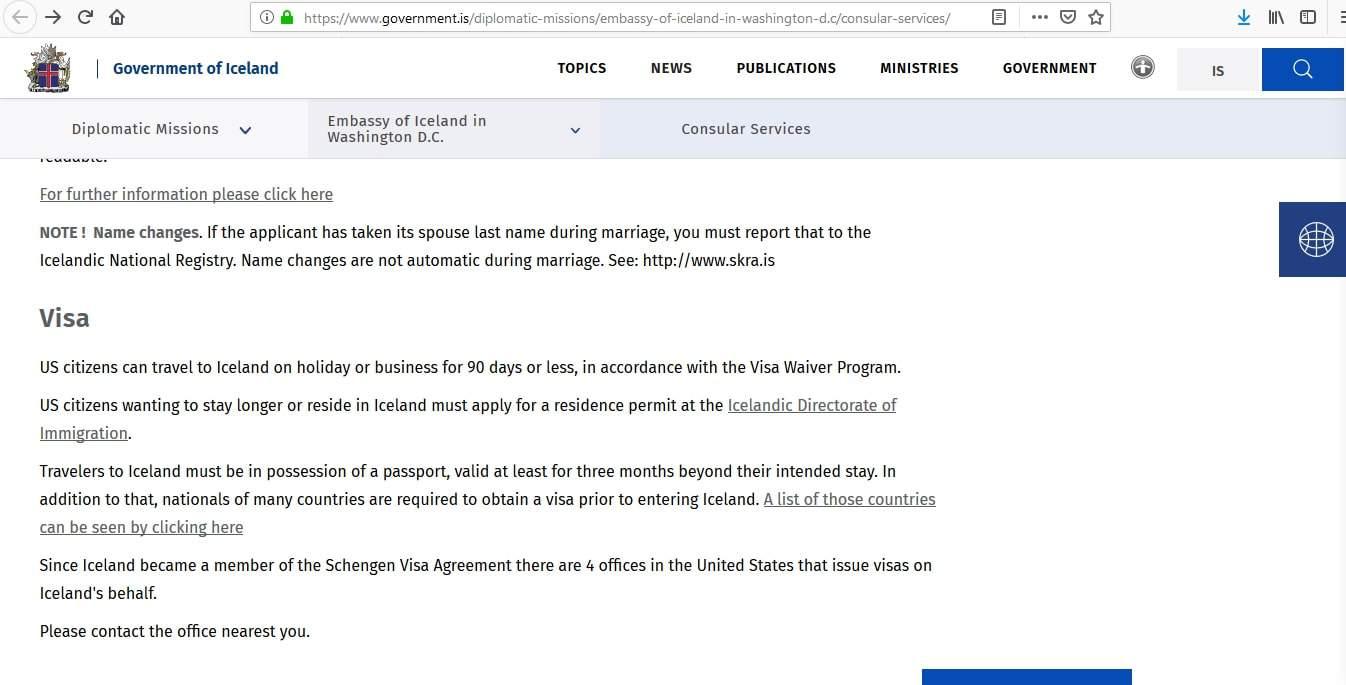 Iceland Residence Visa Washington DC Embassy Application Form