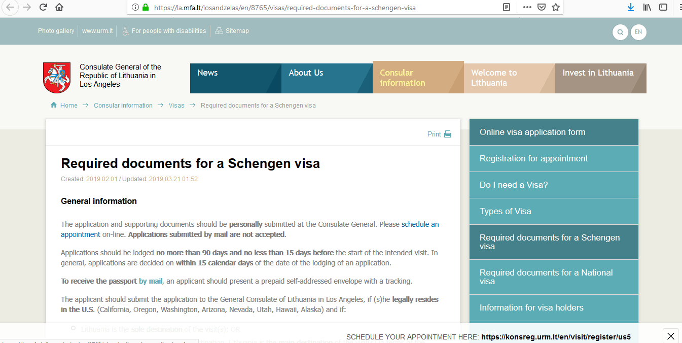 Lithuania Schengen Visa Los Angeles Consulate Application Form