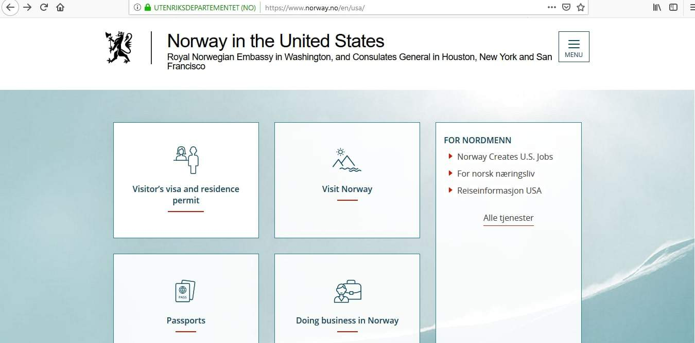 Norway Schengen Visa Washington DC Embassy Application Form