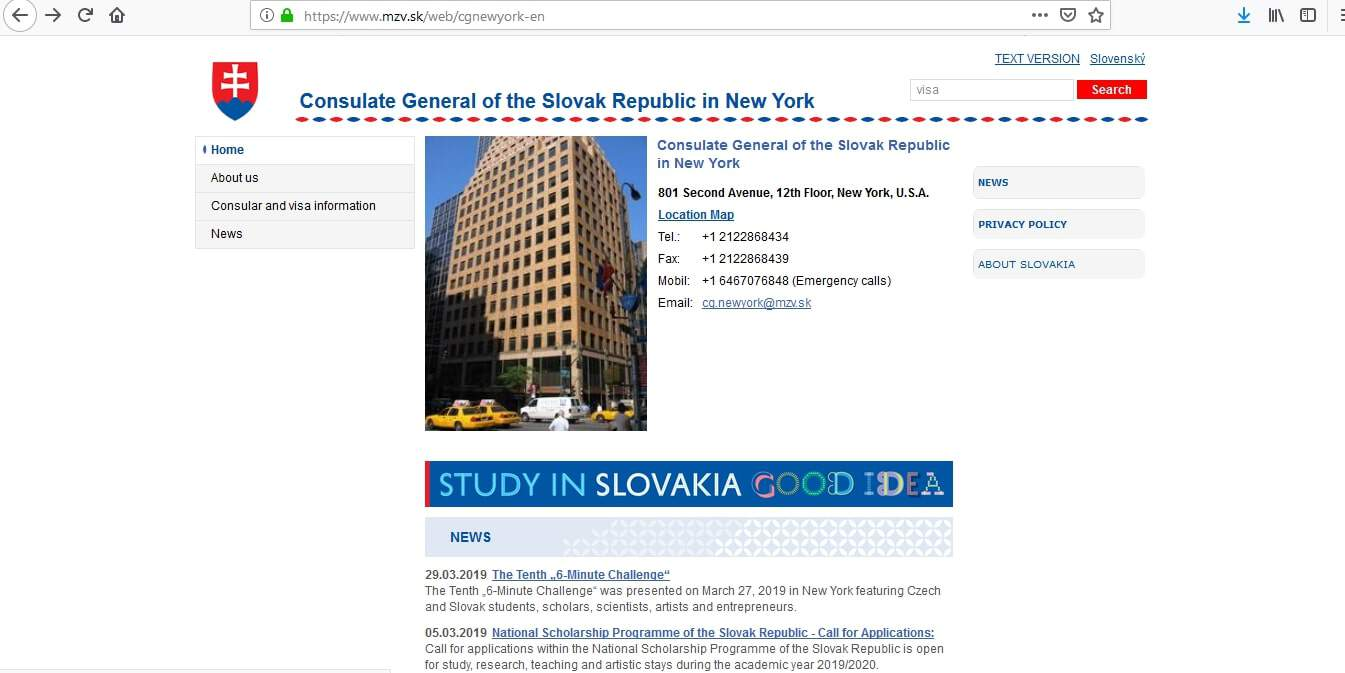 Slovakia Schengen Visa NYC New York Consulate Application Form