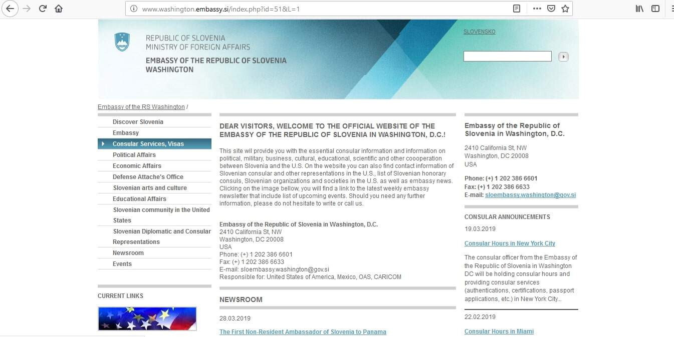 Slovenia Schengen Visa Washington DC Embassy Application Form