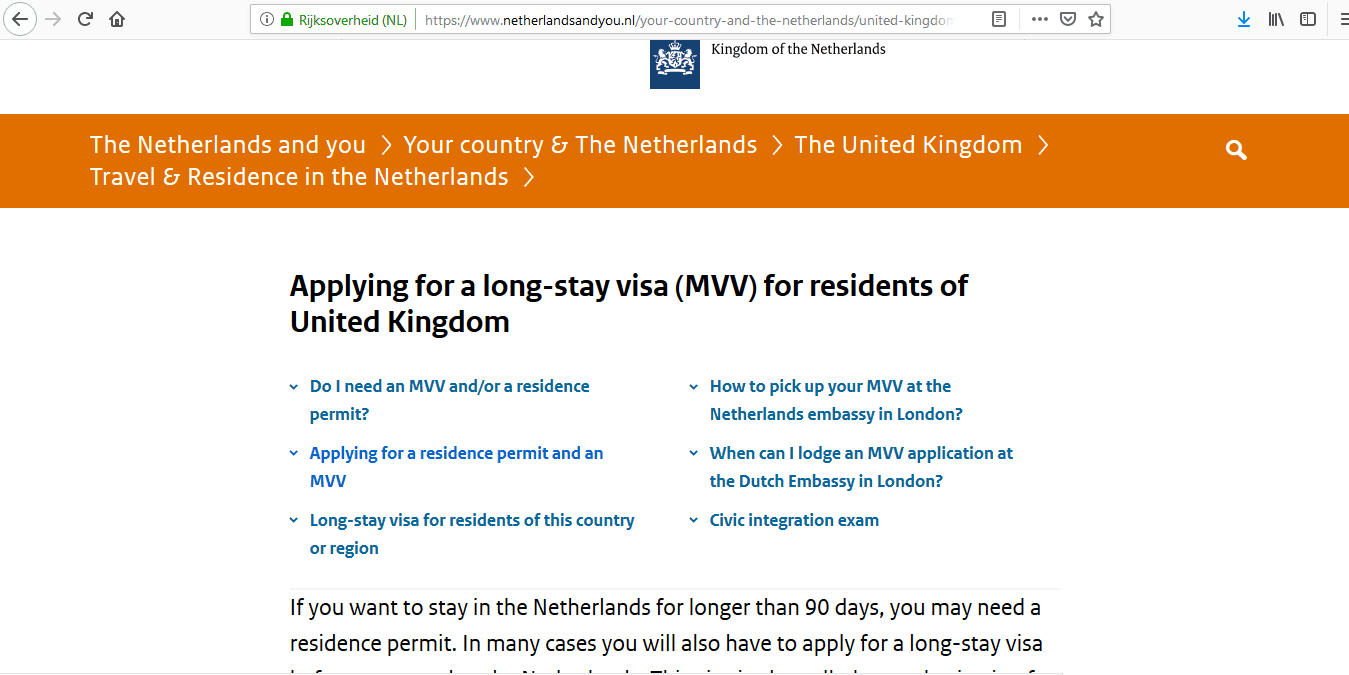 Netherlands National Visa from UK Application Form