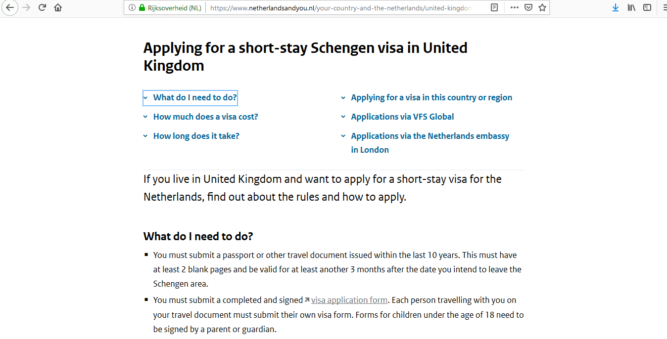 Netherlands Schengen Visa from UK Application Form