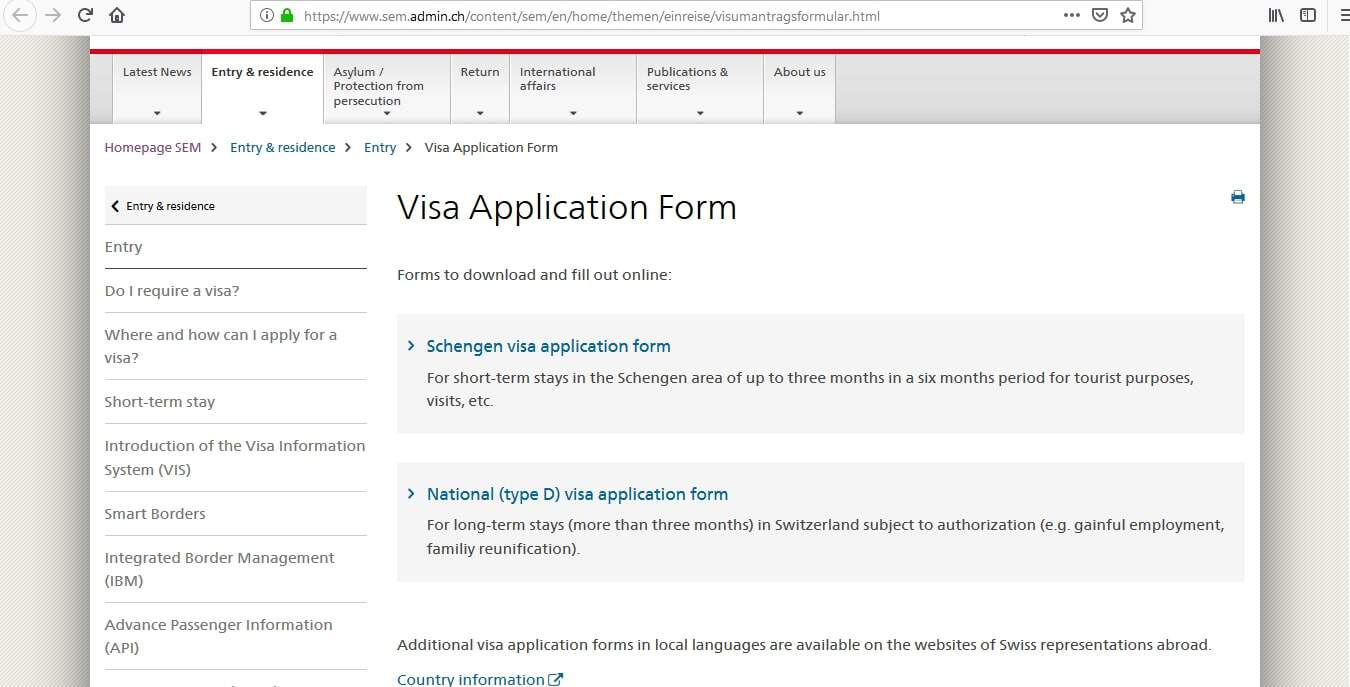 Switzerland Schengen Visa From UK Application Form1