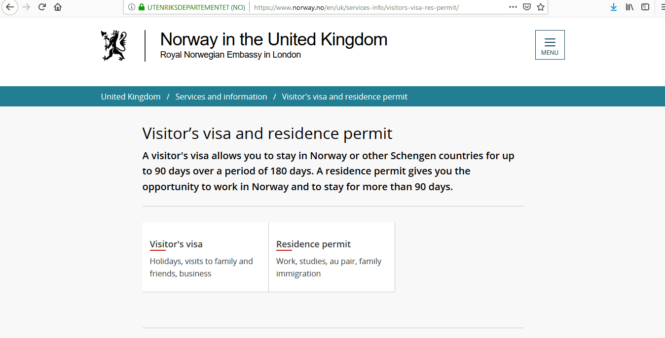 Norway Schengen Visa from UK Application Form1