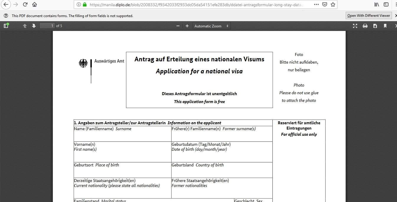 Germany Schengen Visa Manila Consulate Application Form6