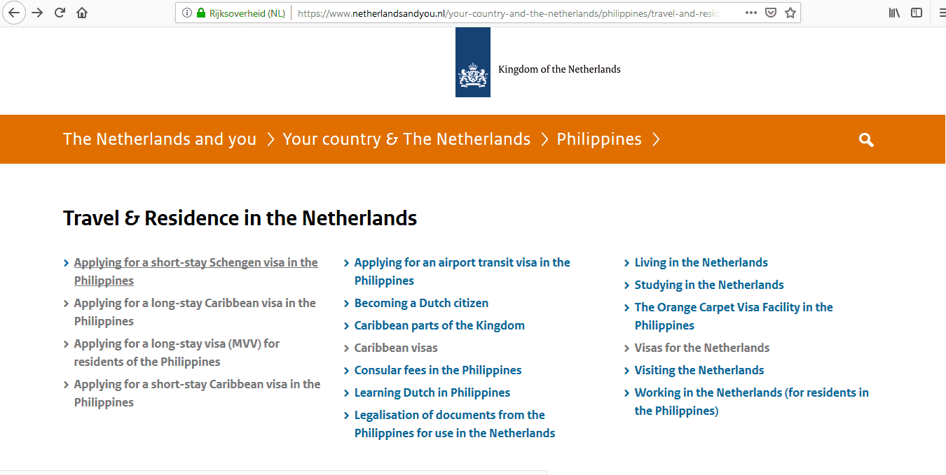 Netherlands Schengen Visa Manila Consulate Application Form