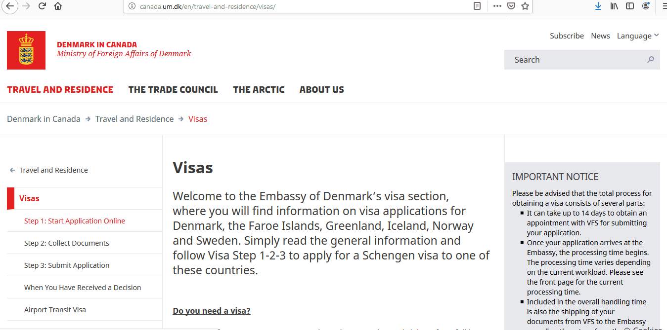 Apply Denmark Schengen Visa at Ottawa Embassy Canada Application Form1