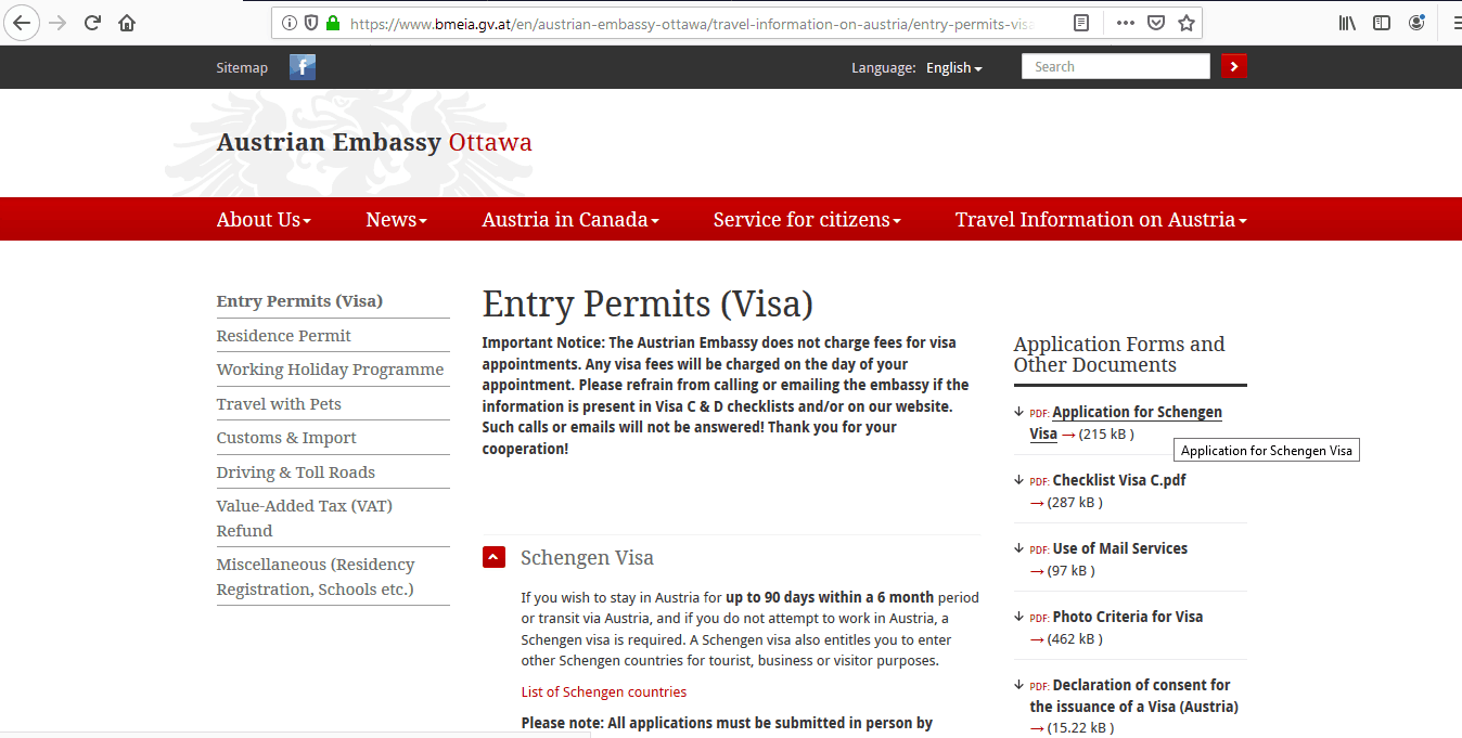Austria Schengen Visa from Ottawa Canada Application Form1