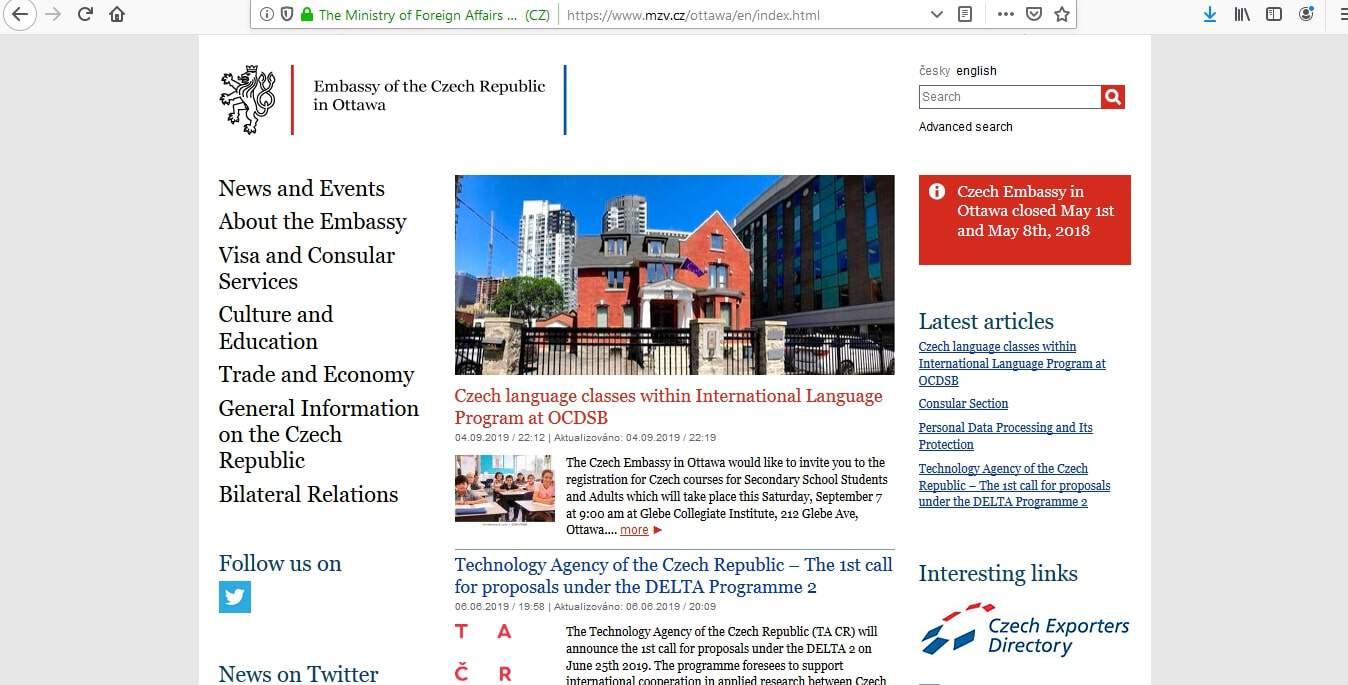 Czech Republic Schengen Visa from Embassy Ottawa Canada Application Form