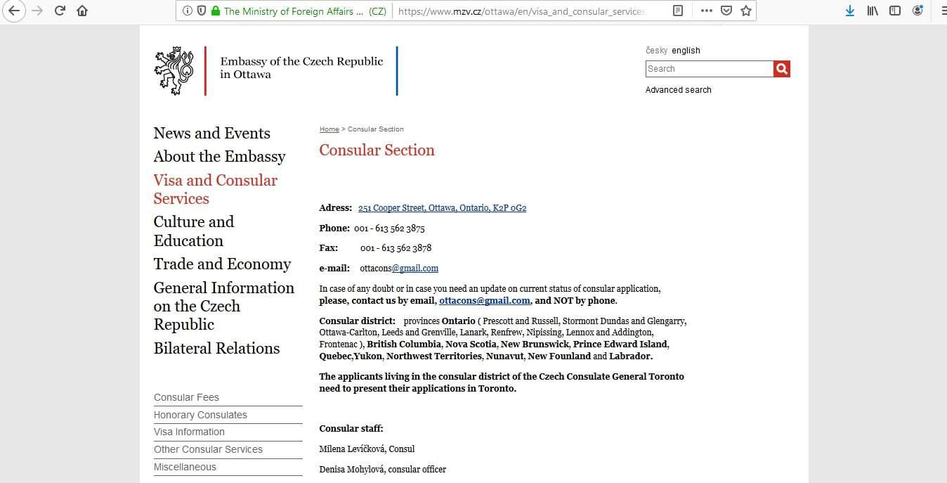 Czech Republic Schengen Visa from Embassy Ottawa Canada Application Form1