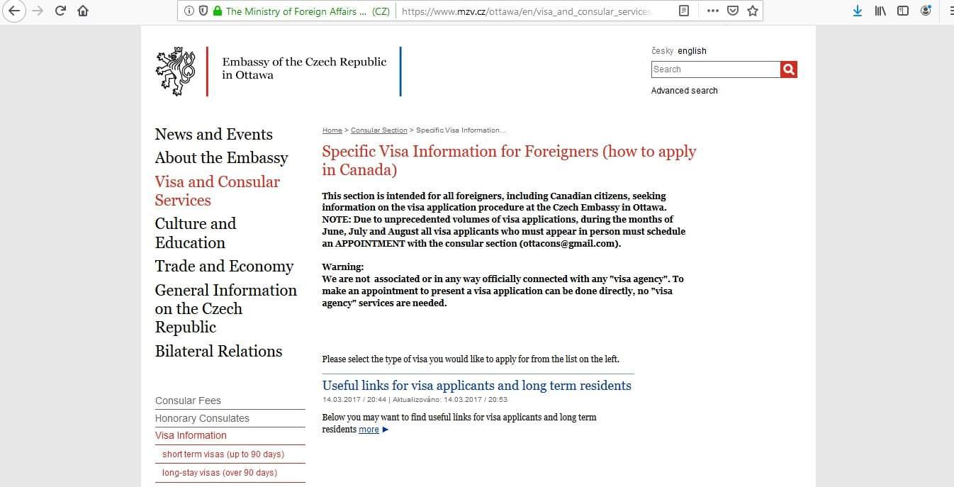 Czech Republic Schengen Visa from Embassy Ottawa Canada Application Form2