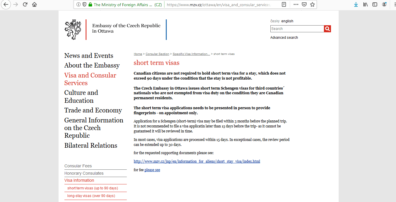 Czech Republic Schengen Visa from Embassy Ottawa Canada Application Form3