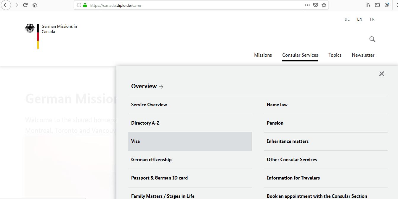 Germany Schengen Visa from Toronto Canada Application Form