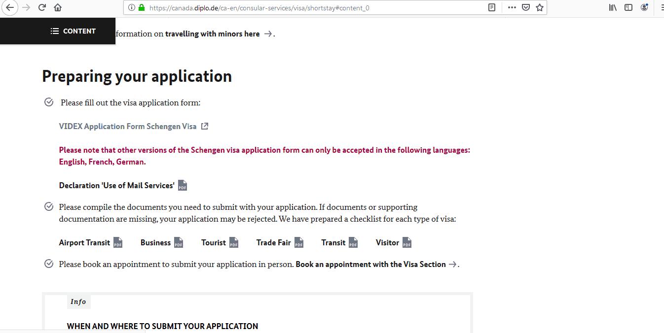Germany Schengen Visa from Toronto Canada Application Form2