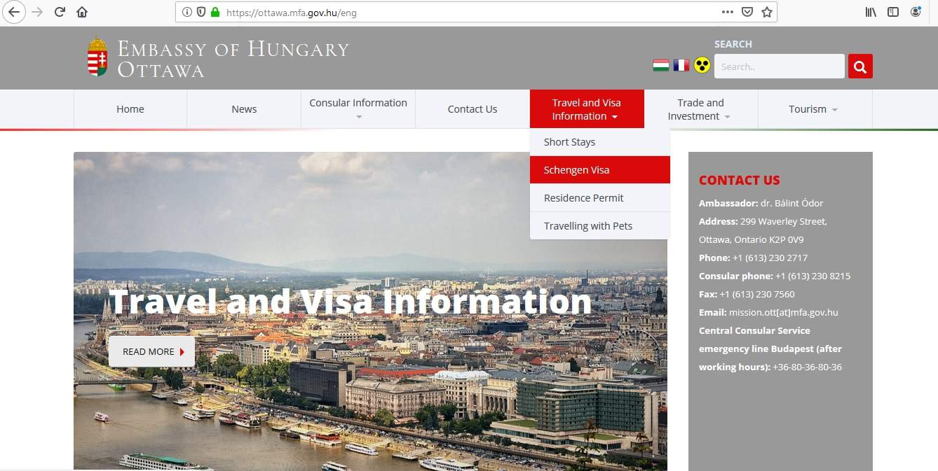 Hungary Schengen Visa from Ottawa Canada Application Form