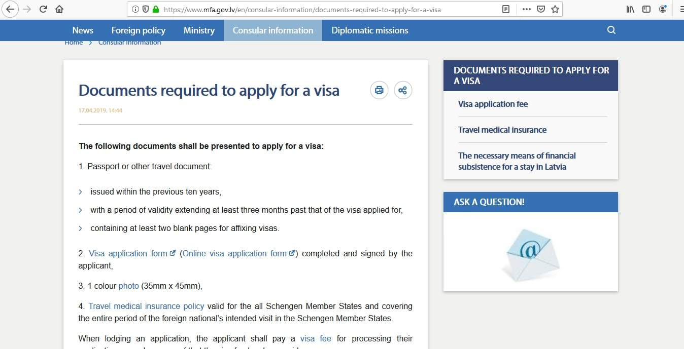 Latvia Schengen Visa from Ottawa Canada Application Form1