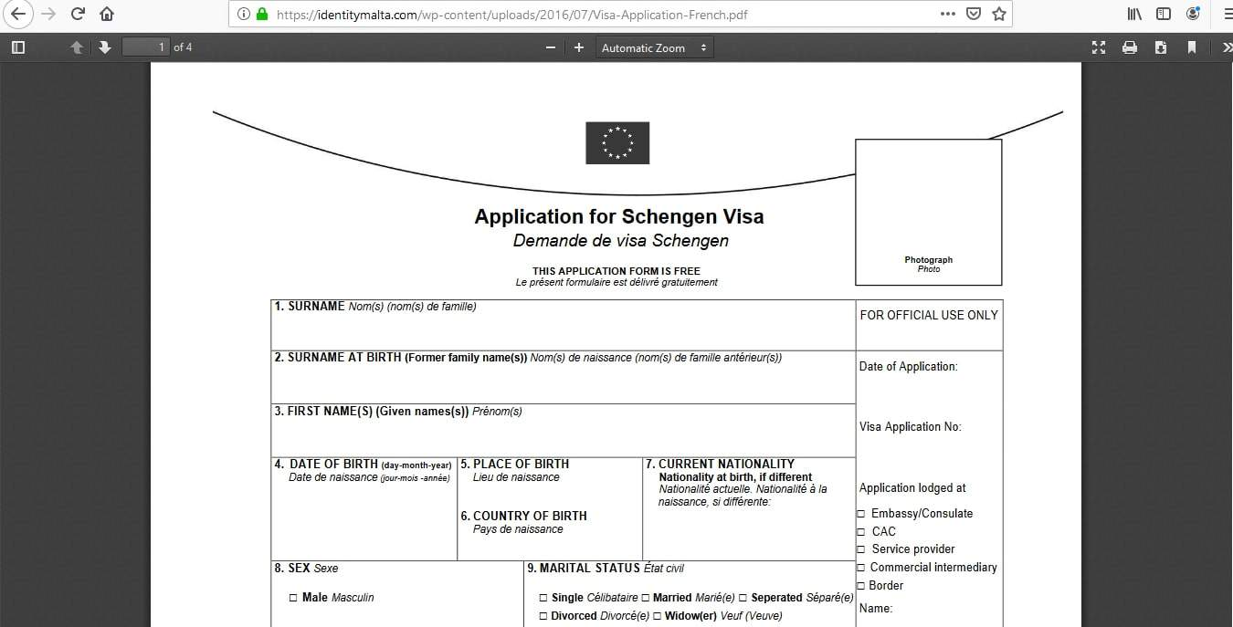 Malta Schengen Visa from Canada Application Form2