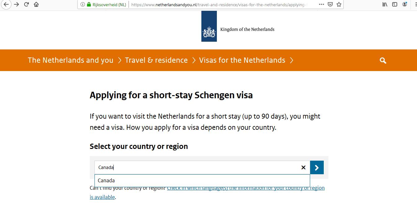 Netherlands Schengen Visa from Canada Application Form1