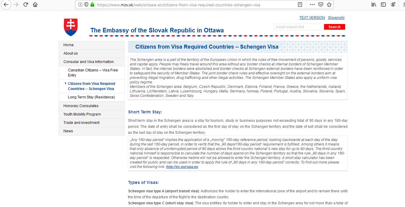 Slovakia Schengen Visa from Canada Application Form1