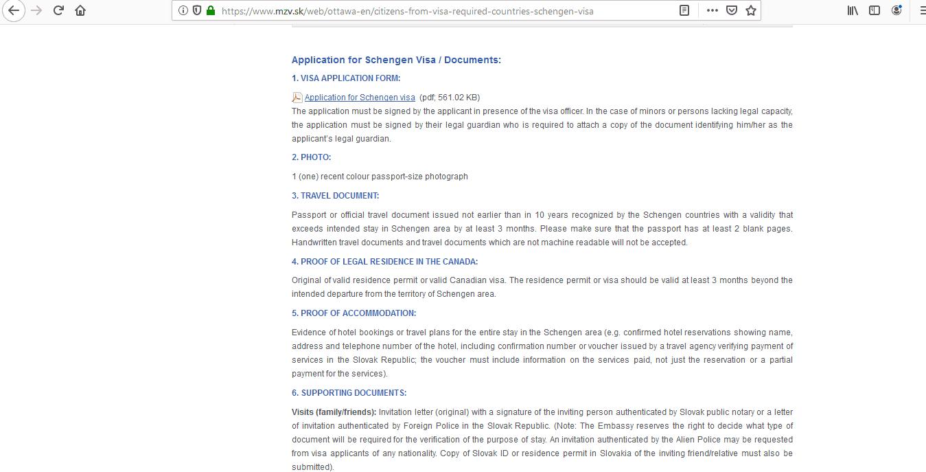 Slovakia Schengen Visa from Canada Application Form2