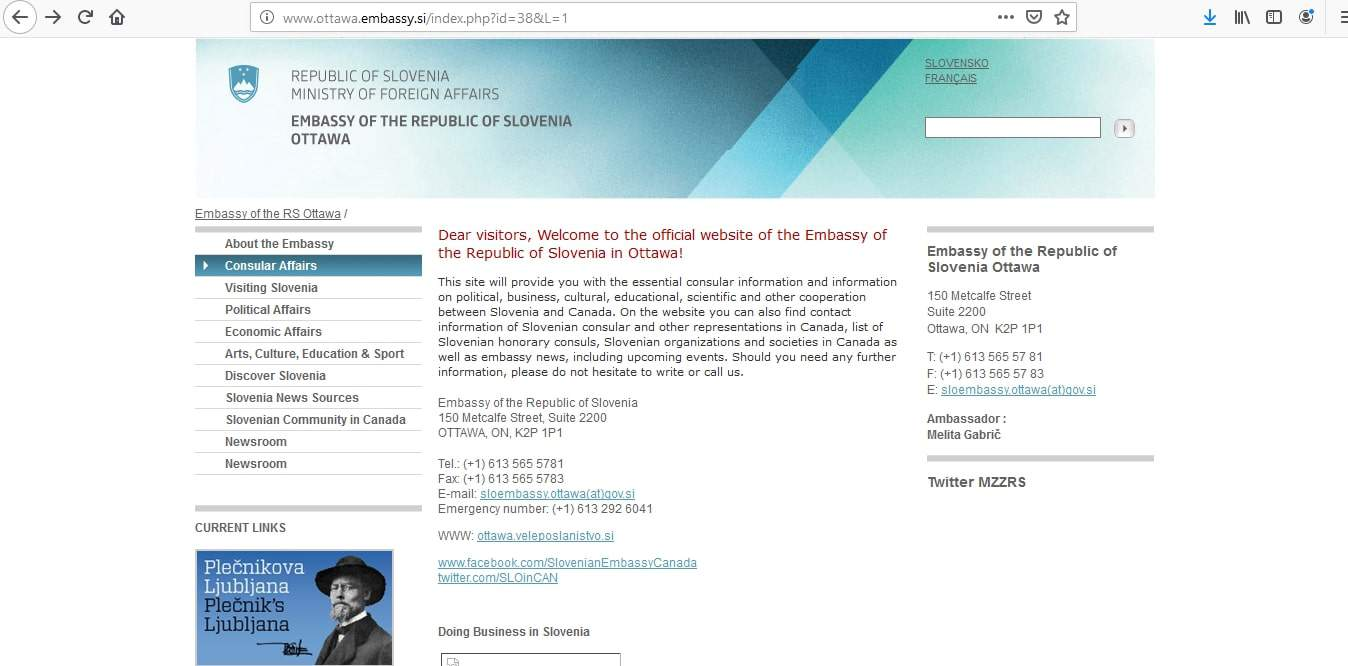 Slovenia Schengen Visa from Canada Application Form