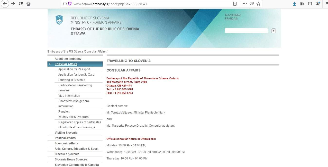 Slovenia Schengen Visa from Canada Application Form1