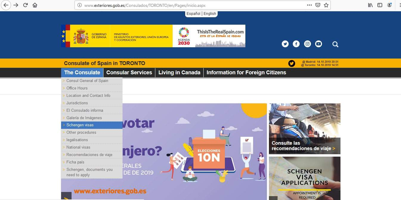 Spain Schengen Visa from Canada Application Form