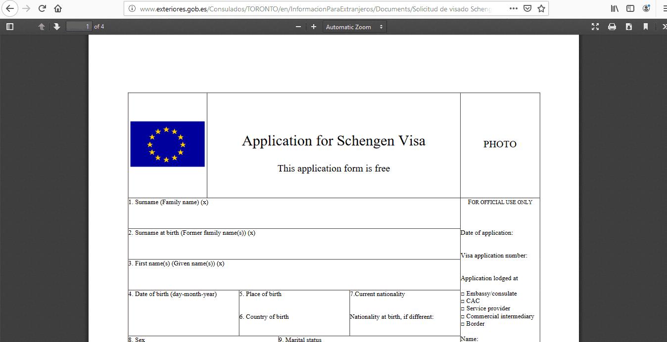 Spain Schengen Visa from Canada Application Form3