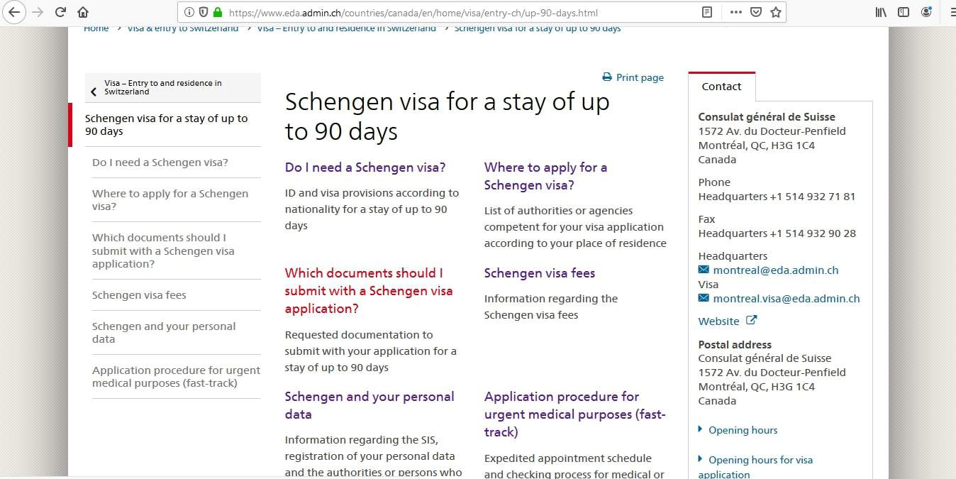 Switzerland Schengen Visa from Canada Application Form2