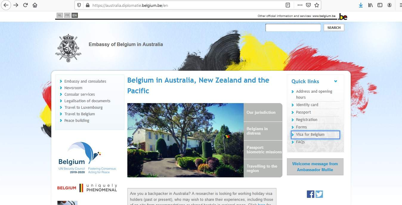 Belgium Schengen Visa from Australia Application Form
