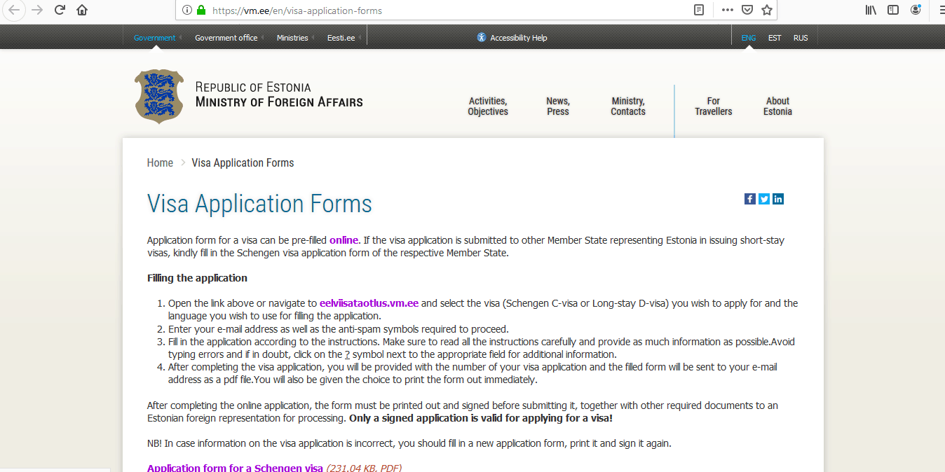 Estonia Schengen Visa from Australia Application Form1