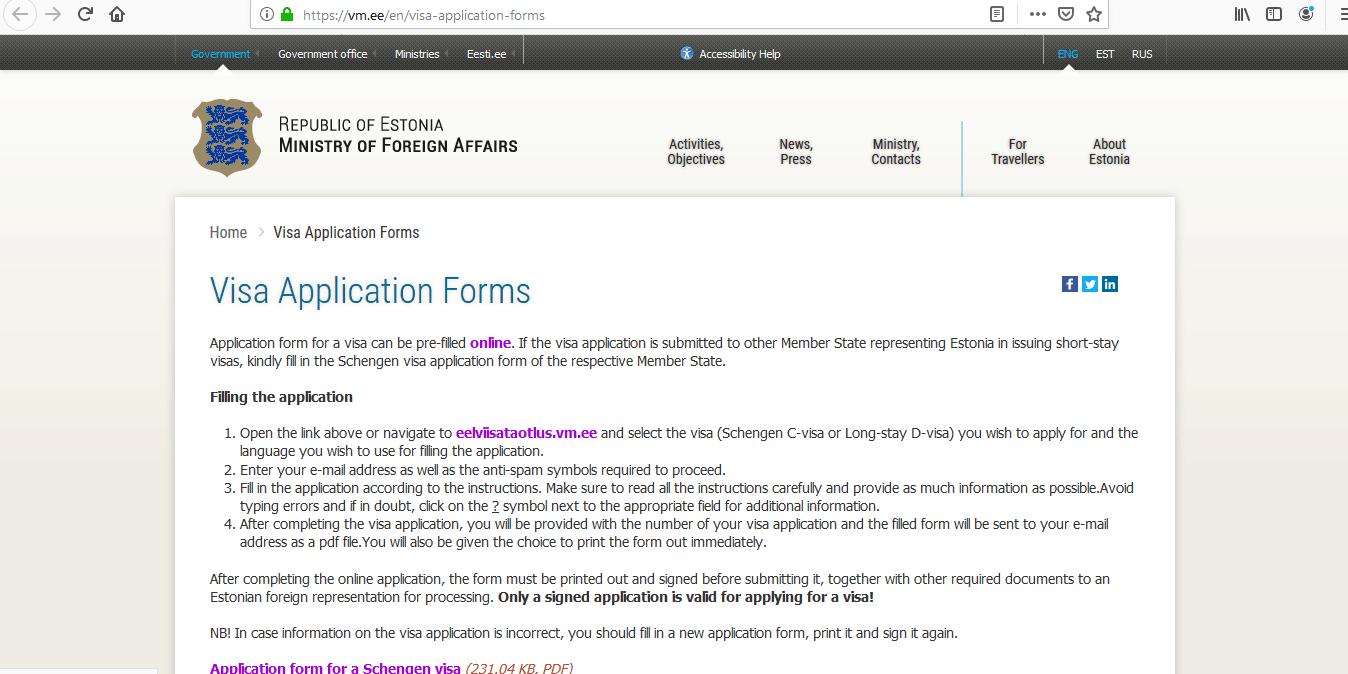 Estonia Schengen Visa from Australia Application Form1