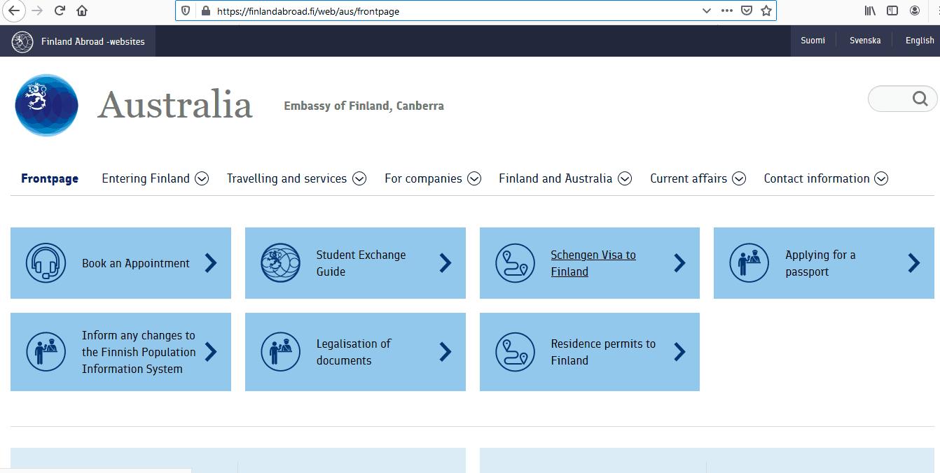 Finland Schengen Visa from Australia Application Form