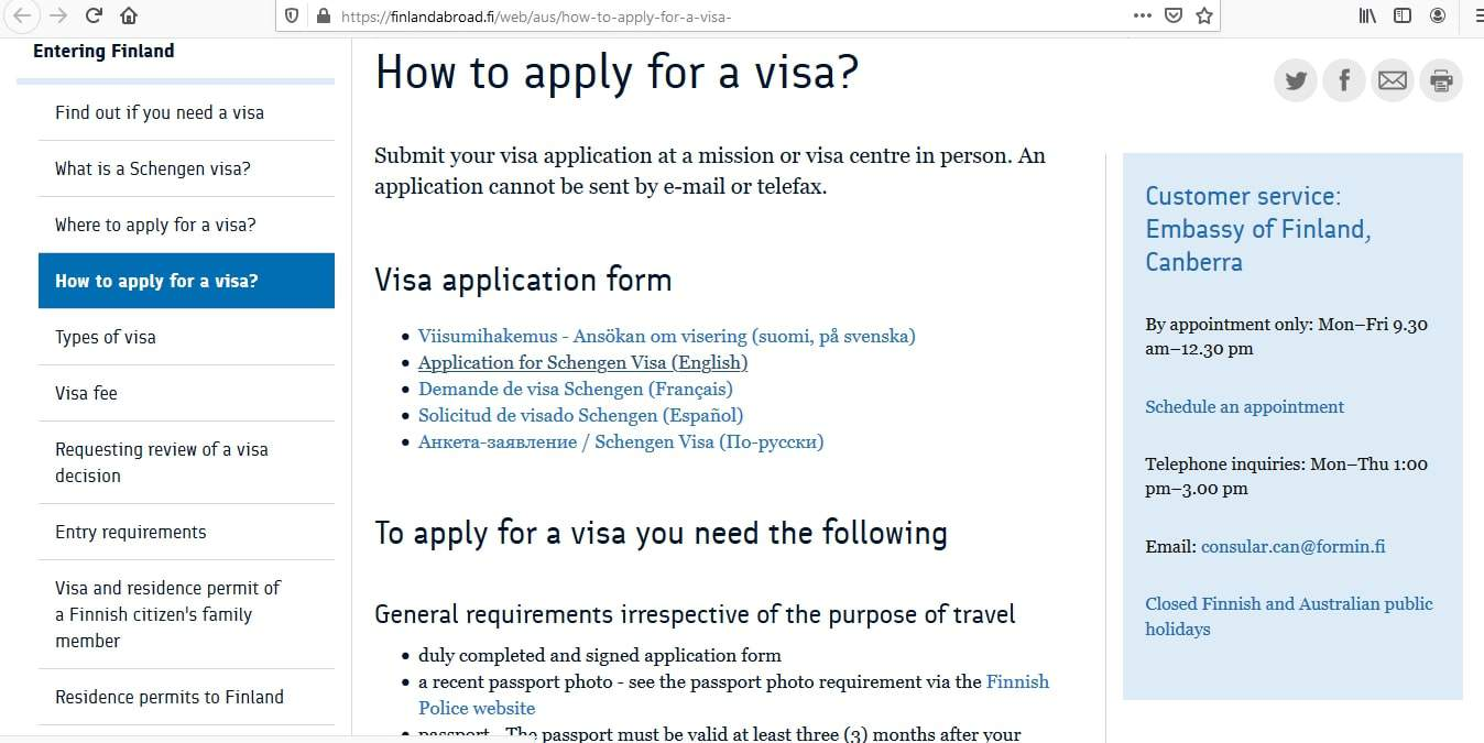 Finland Schengen Visa from Australia Application Form2