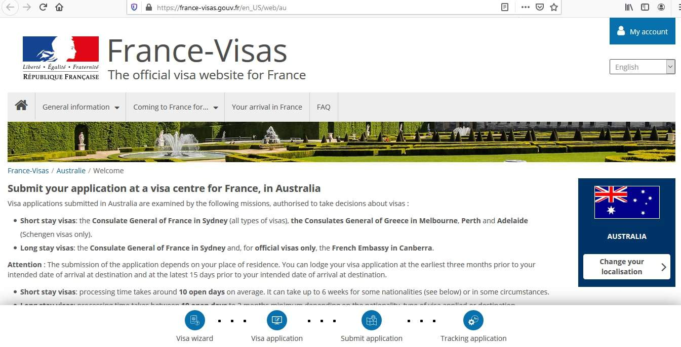 France Schengen Visa from Australia Application Form
