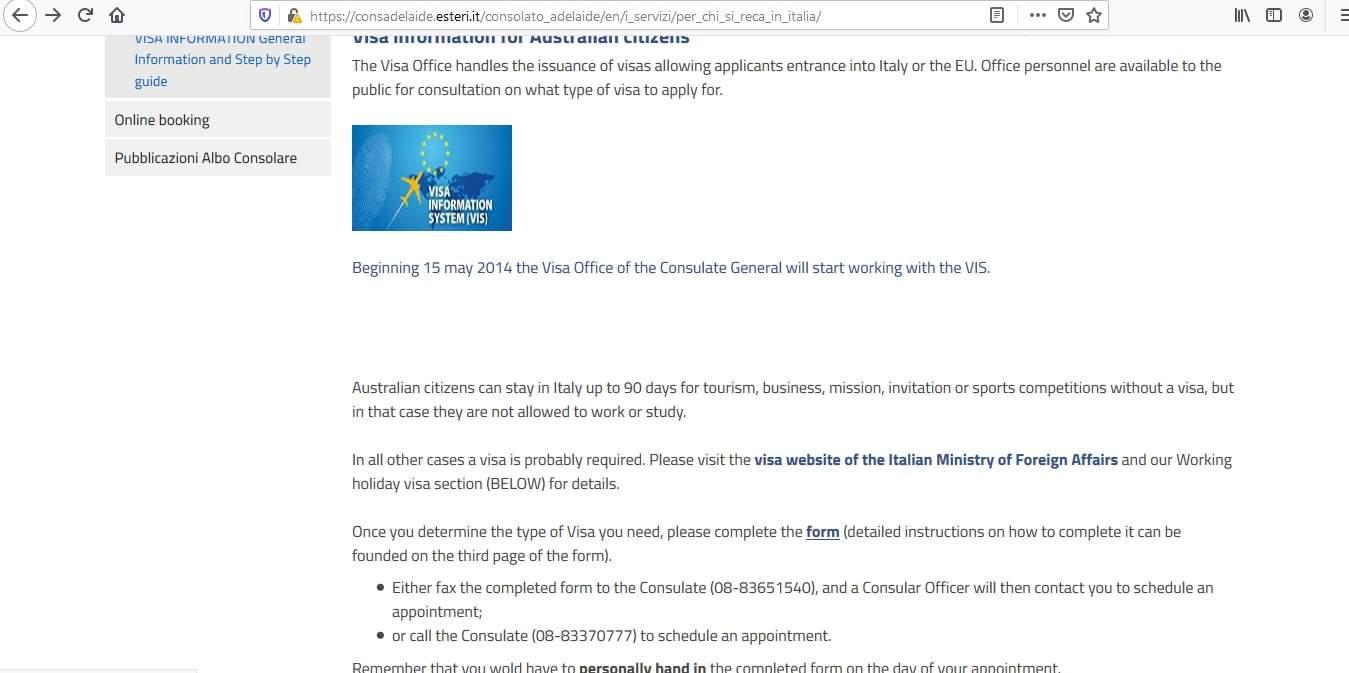 Italy Schengen Visa from Australia Application Form7