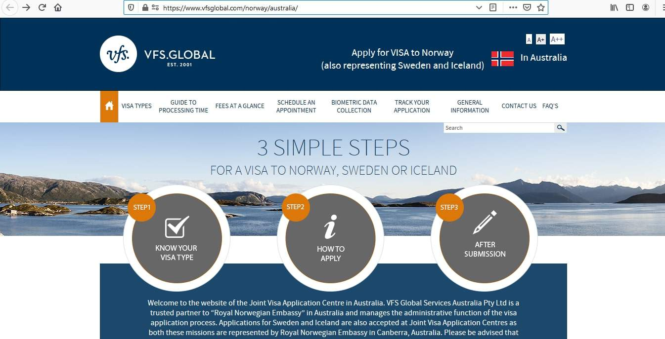 Norway Schengen Visa from Australia Application Form